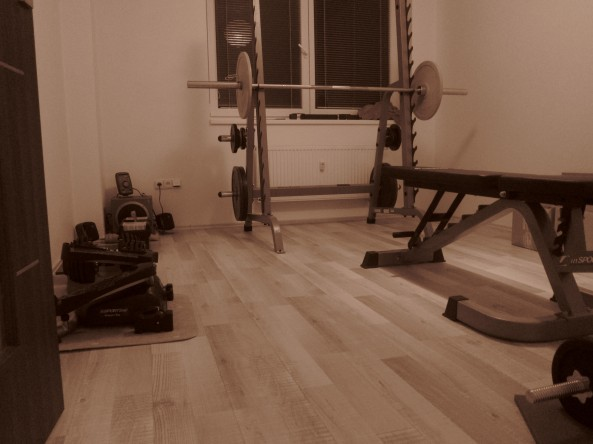 OUR SMALL PRIVATE GYM, SUPPOSED TO BE OUR BABY' S ROOM.