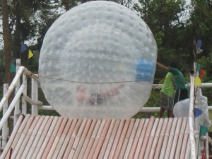 My husband inside the huge balloon. The Zorb adventure. :)