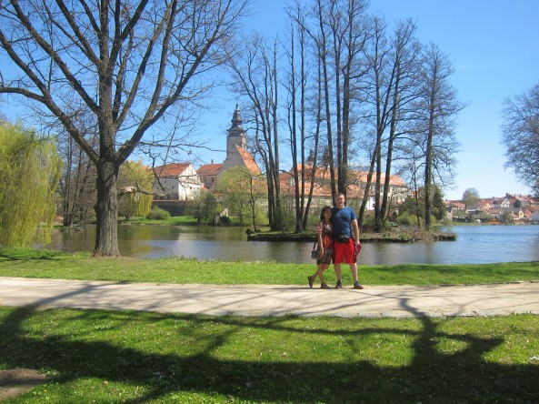 Right behind us, was the mini Island in Telč Park.