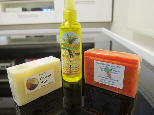 MASSAGE OIL, COCONUT SOAP, AND SOAP MADE BY CARROT