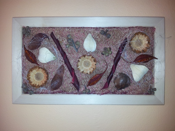 Her finished project, displayed on her wall at the dining area.