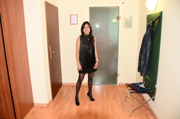 Photo taken at the Hotel. That dress was the one I bought, and the shoes, and that stocking.